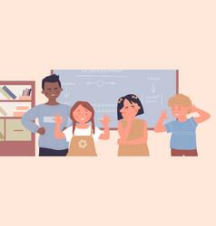 School children bully class mate in classroom vector