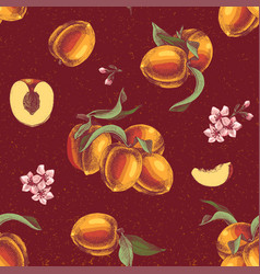 seamless pattern with hand drawn peach branches vector image