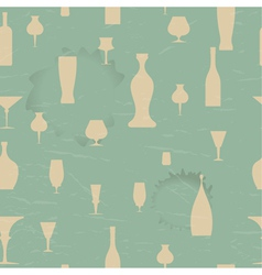 Seamless pattern with silhouettes of the dishes vector