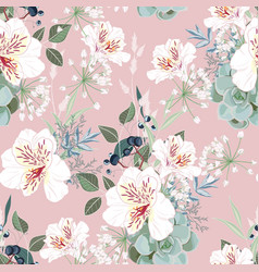 seamless pattern with white alstroemeria flowers vector image