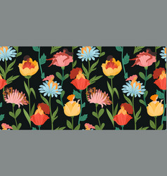 Seamless pattern with women sitting in flowers vector