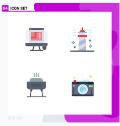 Set 4 commercial flat icons pack for css vector