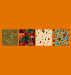 set autumn seamless patterns design vector image