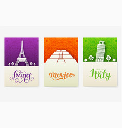 set of art ornamental travel and architecture on vector image