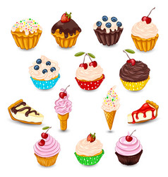 Set of desserts vector