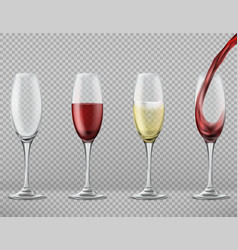 set wine glasses with alcoholic drinks vector image
