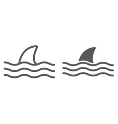 Shark line and glyph icon animal vector