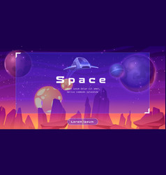Shuttle in space cartoon web banner with spaceship vector