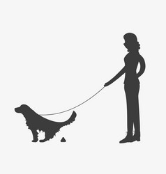 Silhouette of woman walking a dog om leash vector