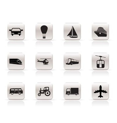Simple transportation and travel icons vector