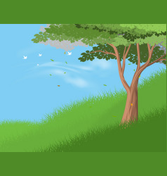 Tree on hill vector