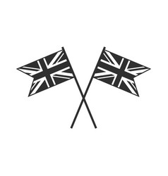 United kingdom flag icon in black outline flat vector