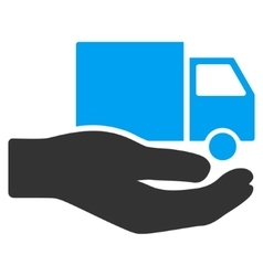 Van Delivery Service Hand Flat Icon vector image