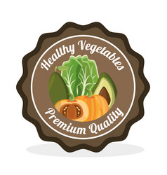 Vegetables premium quality label vector