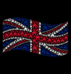 waving great britain flag mosaic of christian vector image