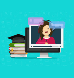 webinar flat cartoon computer vector image