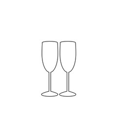 white outline sign of couple champagne glasses on vector image