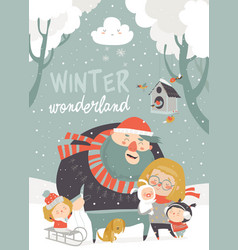 Winter fun happy family at winter vacation vector