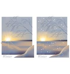 Winter sunrise snowing vector