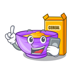 With phone cereal box in a cartoon bowl vector