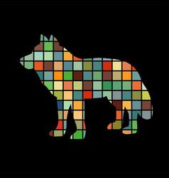 wolf predator color silhouette animal vector image
