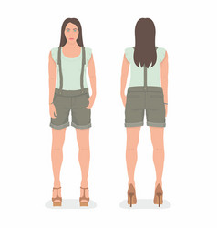 woman front and back views vector image