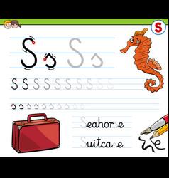 Writting letter s worksheet for children vector