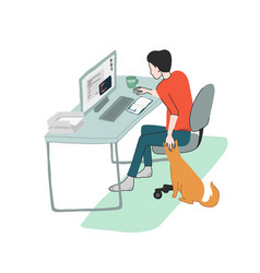 Young man works at home seating at his desk vector
