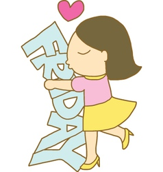 Girl hugs and kisses friday word vector image vector image