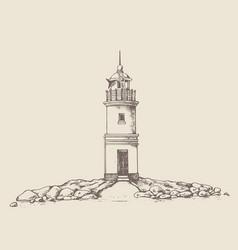 tokarevskiy lighthouse in vladivostok vector image