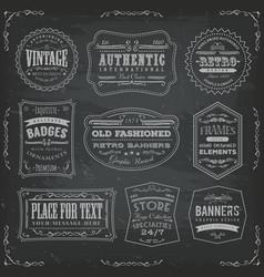 vintage labels ans signs on blackboard vector image