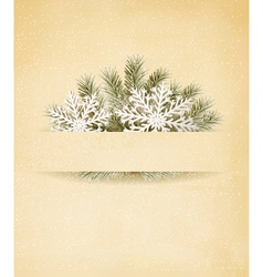Christmas retro background with tree branches and vector image