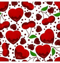 hearts and cherry in chocolate seamless pattern vector image vector image