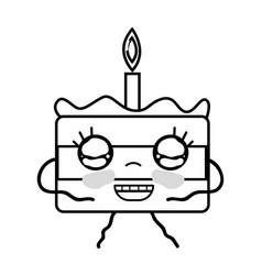 Line kawaii cute happy cake dessert vector