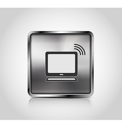 Metal icon notebook wireless connection vector image