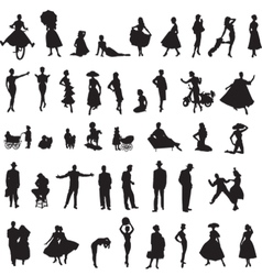 set of retro silhouettes of people vector image vector image