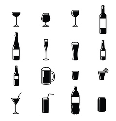 Set Of Sixteen Drinks Black White Silhouettes vector image