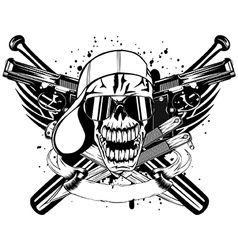 skull in cap knifes bats and two pistols vector image vector image