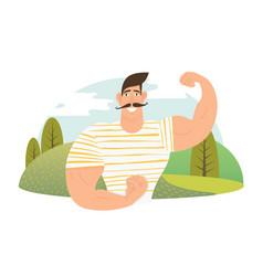 strongman athlete showing bisep cartoon vector image