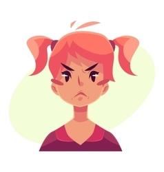 Teen girl face angry facial expression vector image vector image