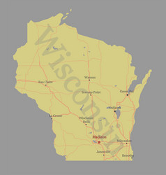 wisconsin accurate exact detailed state map vector image vector image