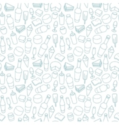 Blue food line icon seamless pattern vector image