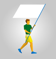 flag bearer with blank standard in two hands vector image