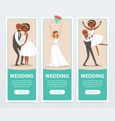 happy just married couples wedding banners set vector image