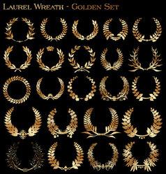 laurel wreath - golden set vector image vector image