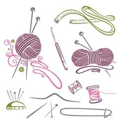 Needlework knitting wool crochet vector