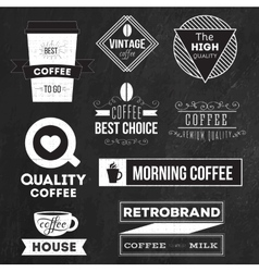 Set of badges labels and logo elements for coffee vector image