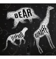 Tangled line bear vector