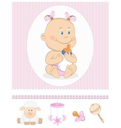 Cartoon girl with milk bottle vector image vector image