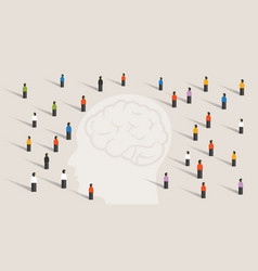 crowd many people group with large head mind vector image vector image